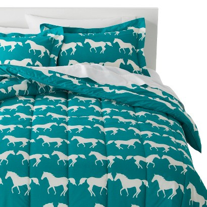 Anorak Horses Comforter Set - Blue/White