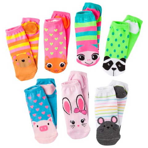 Girls' 7-Pack Low Cut Animal Face Socks