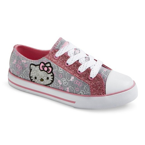 Girl's Hello Kitty Lace Up Sneakers - Grey