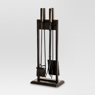 Threshold™ Fireplace Toolset - Black with Brushed Bronze Finish