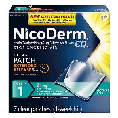 NicoDerm® CQ Step 1 Stop Smoking Aid Clear Patches