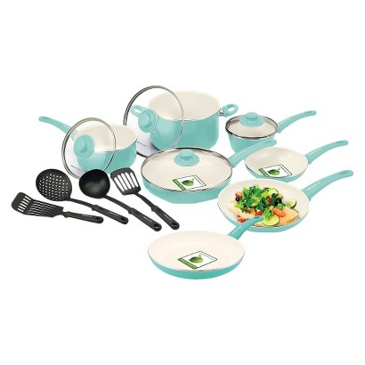 GreenLife 15 Piece Ceramic Cookware Set