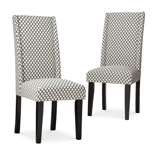 Charlie modern wingback dining chair set of 2 ebay for Grey and black dining chairs