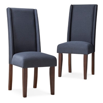 Charlie Modern Wingback Dining Chair - Navy (Set of 2)