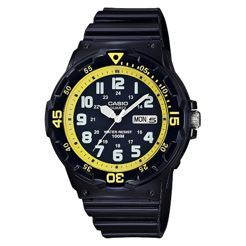 Casio Dive Style Watch with Glossy Strap - Black/Yellow (MRW200HC-2BVCF)