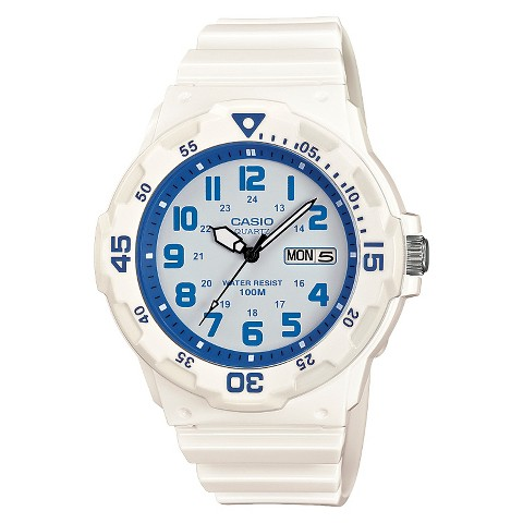 Casio Dive Style Watch with Glossy Strap and Blue Accents - White - HC-7B2VCF