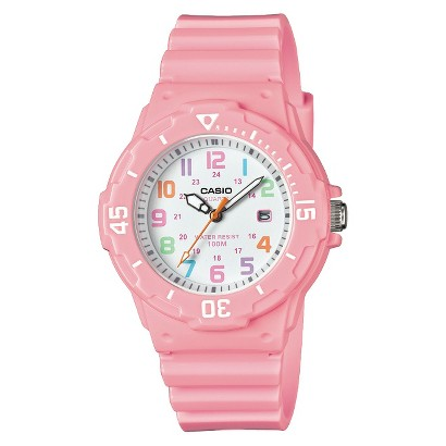 Casio Women's Dive Style Watch with Glossy Strap - Pink - 0H-4B2VCF
