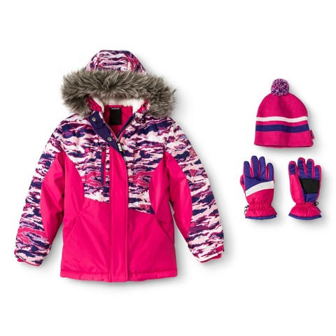 R-Way by ZeroXposur Girls' Camouflage Tech Jacket with Matching Hat and Gloves