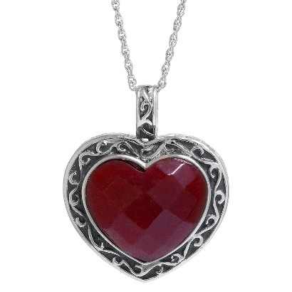 "Women's Sterling Silver Reconstituted Red Jasper Heart Pendant - Silver/Red (18"")"