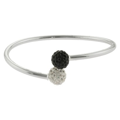 Women's Silver Plated Crystals bypass bangle - White/Black/Silver