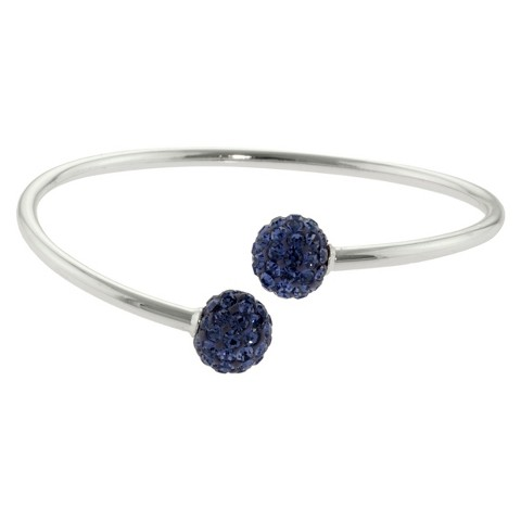 Women's Silver Plated Crystals bypass bangle - Purple/Silver