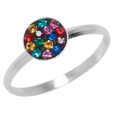 Women's Silver Plated Round Ring with Multicolor Crystals