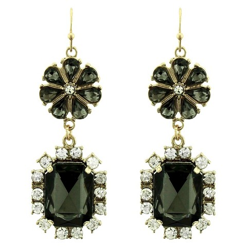 Women's Daisy Fuentes® Drop Earrings with Casted Flower, Oval and Stones - Gold/Black