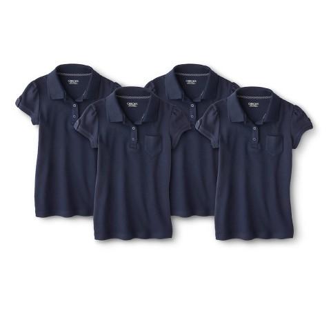 Cherokee® Girls' School Uniform 4-Pack Short-Sleeve Interlock Polo