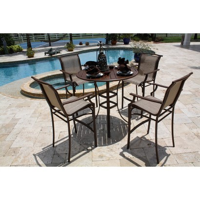 Chub Cay 5-Piece Sling Bar Height Patio Dining Furniture Set