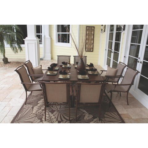 chub cay 9 piece sling patio dining furniture set product details page