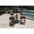Grenada Wicker 5-Piece  Patio Bar Height Slatted Dining Furniture Set