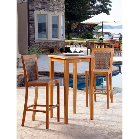 island 3 piece teak wicker patio bar height patio furniture set
