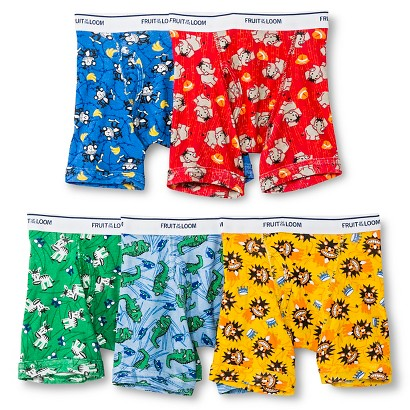 Fruit of the Loom® Toddler Boys' 5-Pack Animal Boxer Briefs