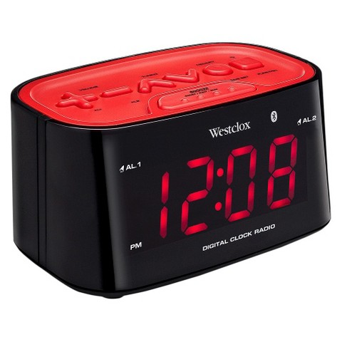 westclox bluetooth led alarm clock radio target. Black Bedroom Furniture Sets. Home Design Ideas