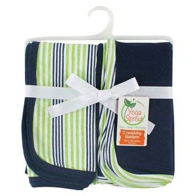 Yoga Sprout Interlock Receiving Blankets 2pk - Navy & Green