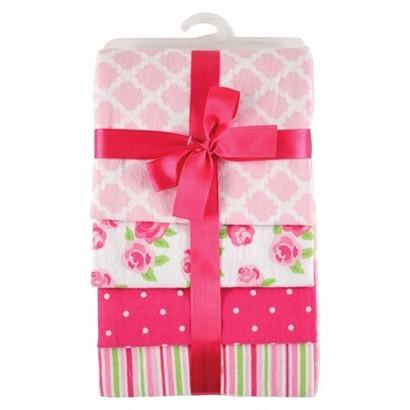 Hudson Baby Flannel Receiving Blanket 4pk - Rose