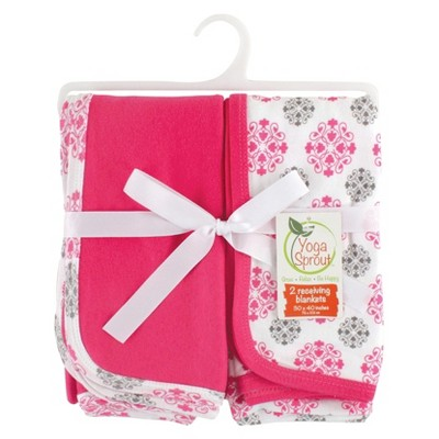 Yoga Sprout Interlock Receiving Blankets 2pk - Pink & Grey
