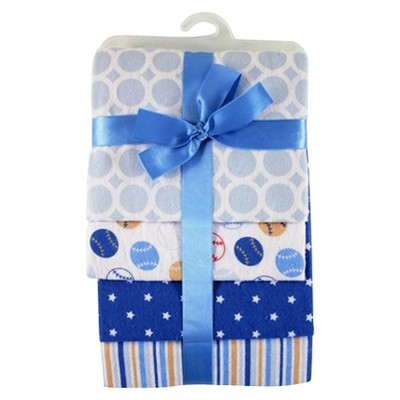Hudson Baby Flannel Receiving Blanket - 4pk - Sport