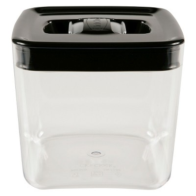 Canister Cube 2Qt. Click Clack Silver Lid W/ Tinted Base