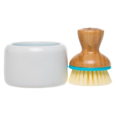 Honest Suds Up Ceramic Soap Dish & Bamboo Brush