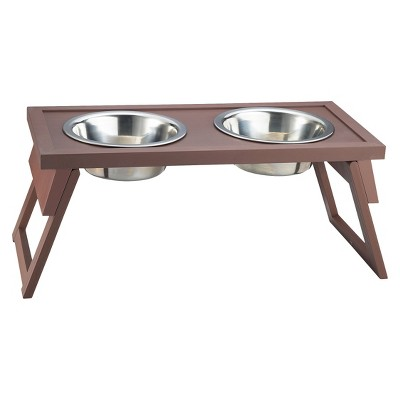 New Age Pet Habitat N' Home HiLo Adjustable Double Diner Bowl -  Russet (Large)