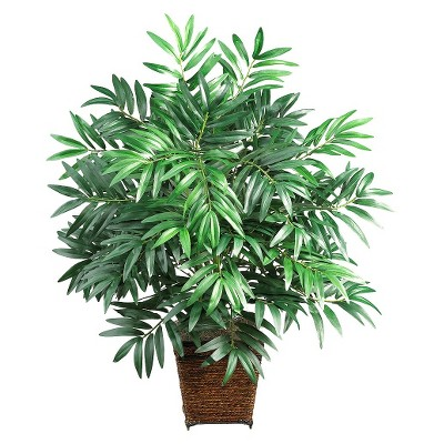 Nearly Natural Bamboo Palm w/Wicker Basket Silk Plant