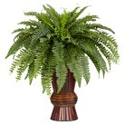 Nearly Natural Boston Fern w/Bamboo Vase Silk Plant