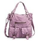 Women's Crossbody Tote Handbag with Front Pockets - Light Purple