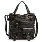 Women's Crossbody Tote Handbag with Front Pockets - Black