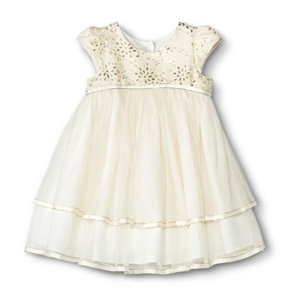 Infant Toddler Girls Gold Sparkle Flower Girl D Tar