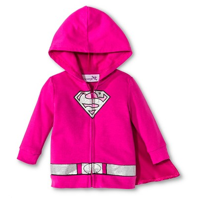 Supergirl Newborn Girls' Caped Hoodie - Pink 3-6 M