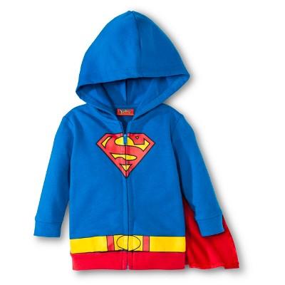 Superman Newborn Boys' Caped Hoodie - Blue/Red 0-3 M
