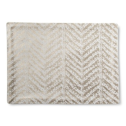 "Threshold™ Metallic Herringbone Placemat Set of 4 - Gold (14""X19"")"