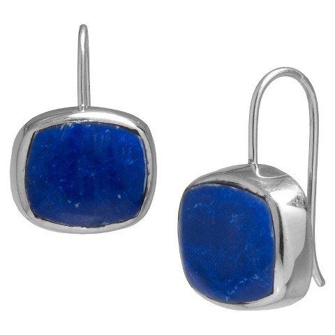 Silver Plated Reconstituted Sodalite Drop Earrings - Silver/Blue