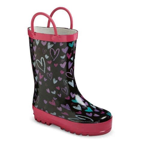 Toddler Girl's Western Chief Rain Boots - Chalkboard Hearts