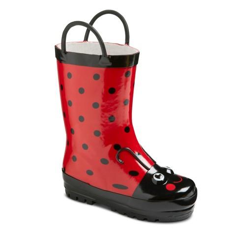 Toddler Girl's Ladybug Rain Boots - Red
