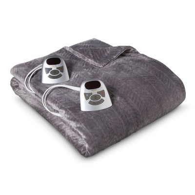 Velour Chevron Electric Blanket Gray (Twin) - Biddeford