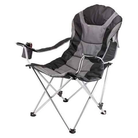 Picnic Time Reclining Camp Chair - Black/ Grey (12.5 Lb)