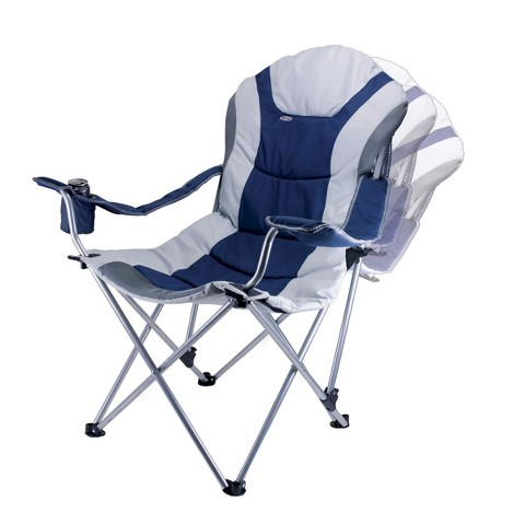 Picnic Time Reclining Camp Chair - Navy/ Silver Grey (12.5 Lb)