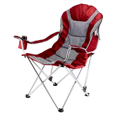 Picnic Time Reclining Camp Chair - Dark Red/ Grey (12.5 Lb)