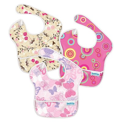 Bumkins Superbib 3ck Baby Bib Set - Pink and Beige