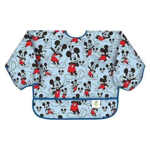 Bumkins Disney Baby Mickey Mouse Waterproof Sleeved Baby Bib - Blue