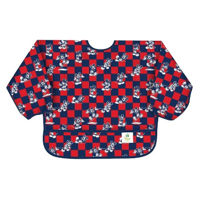 Bumkins Disney Baby Mickey Mouse Waterproof Sleeved Baby Bib - Blue and Red