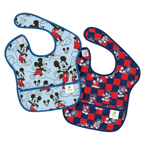 Bumkins Disney Baby Mickey Mouse 2pk Waterproof SuperBib® Baby Bib Set - Blue and Red